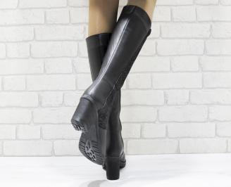 Дамски ботуши от естествена кожа черни WVXG-25553
