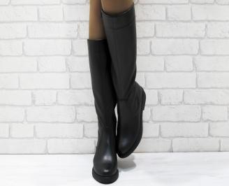 Дамски ботуши от естествена кожа черни TCWO-25575