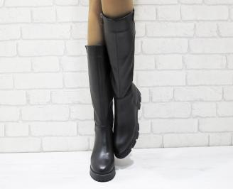 Дамски ботуши от естествена кожа черни JTXC-25576