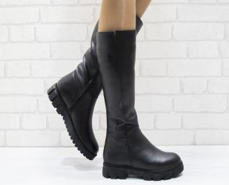 Дамски ботуши от естествена кожа черни JOTZ-25577