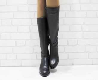 Дамски ботуши от естествена кожа черни VPET-25578