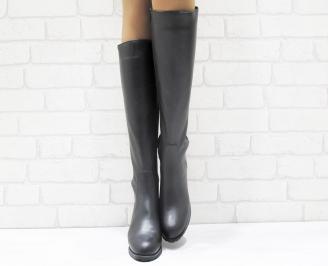 Дамски ботуши от естествена кожа черни DXMD-25579