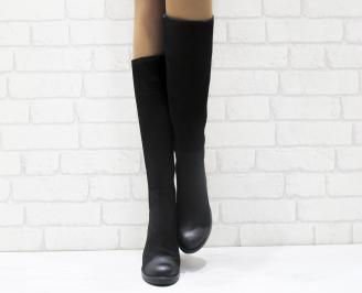 Дамски ботуши от естествен набук черни YMOH-25580