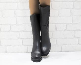 Дамски ботуши от естествена кожа черни HKUM-25582