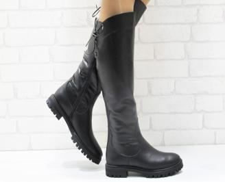 Дамски ботуши от естествена кожа черни ZSFA-25585