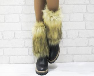 Дамски ботуши от естествена кожа черни MIAG-25588