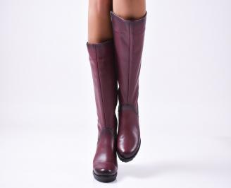 Дамски ботуши от естествена кожа бордо CJLL-25594