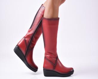Дамски ботуши от естествена кожа червени KRFQ-25595