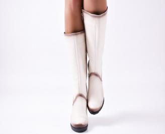 Дамски ботуши от естествена кожа бежови JLJM-25596