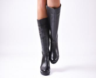 Дамски ботуши от естествена кожа черни LDOW-25597