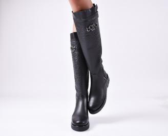 Дамски ботуши от естествена кожа черни HHCA-25598