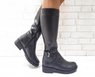 Дамски ботуши от естествена кожа черни QOTR-25599