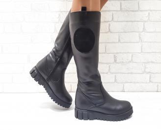 Дамски ботуши от естествена кожа черни JZKK-25600