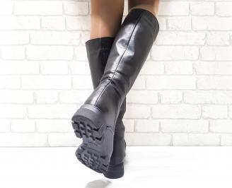 Дамски ботуши от естествена кожа черни AWCI-25601
