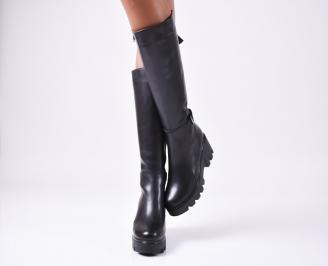 Дамски ботуши от естествена кожа черни EDWF-25606