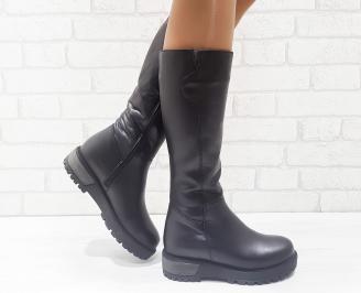Дамски ботуши от естествена кожа черни YLIE-25607