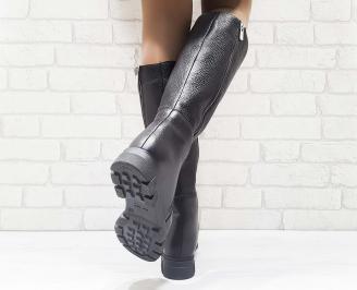 Дамски ботуши от естествена кожа черни GCUR-25608
