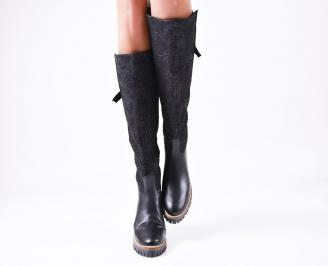 Дамски ботуши от естествена кожа черни ZJBN-25625