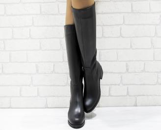 Дамски ботуши от естествена кожа черни IIBH-25626