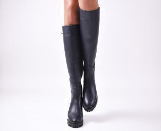 Дамски ботуши от естествена кожа черни ERUF-25629