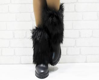 Дамски ботуши от естествена кожа черни PKMH-25630