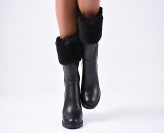 Дамски ботуши от естествена кожа черни JUZI-25631