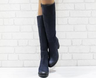 Дамски ботуши от естествен набук сини CWID-25632
