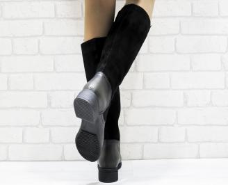 Дамски ботуши от естествена кожа черни EBXB-25633