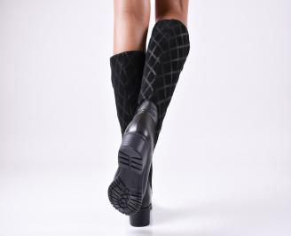 Дамски ботуши от естествена кожа черни PTZQ-25635