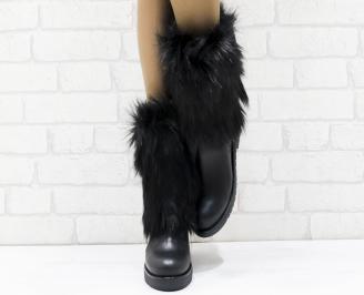 Дамски ботуши от естествена кожа черни ZXFY-25636