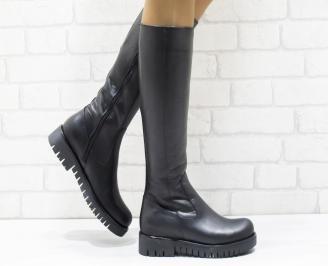 Дамски ботуши от естествена кожа черни ZWQY-25637