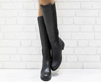 Дамски ботуши от естествена кожа черни DFHG-25638
