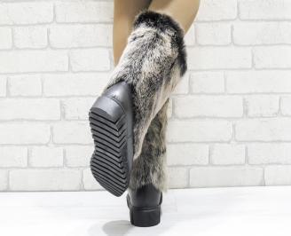 Дамски ботуши от естествена кожа/естествен косъм лисица черни DJMG-25644