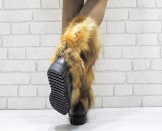Дамски ботуши от естествена кожа/естествен косъм лисица черни JZVX-25645