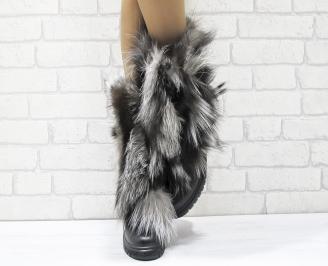 Дамски ботуши от естествена кожа/естествен косъм лисица черни JVOE-25646