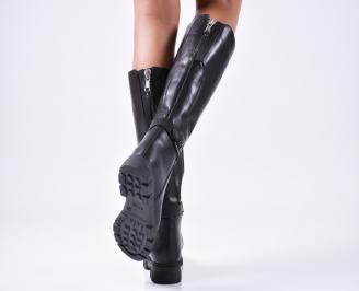 Дамски ботуши от естествена кожа черни KKGB-25654