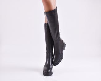 Дамски ботуши от естествена кожа черни GUXY-25655