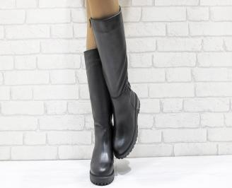 Дамски ботуши от естествена кожа черни YXAF-25656