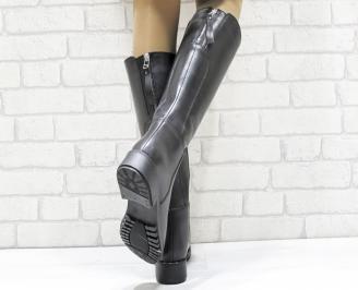 Дамски ботуши от естествена кожа черни LEGX-25657