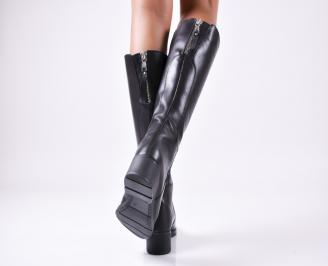 Дамски ботуши от естествена кожа черни ZCFI-25658