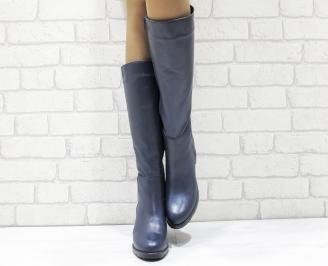 Дамски ботуши от естествена кожа сини TQPC-25659