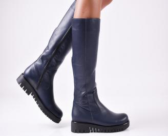 Дамски ботуши от естествена кожа сини HPFZ-25680