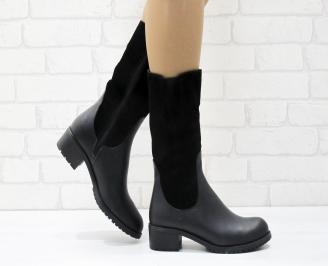 Дамски ботуши от естествена кожа черни ZTHS-25691