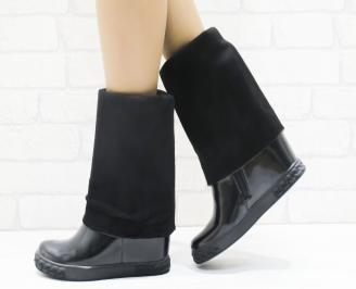 Дамски ботуши  със скрита платформа еко кожа/лак черни VOGM-22052