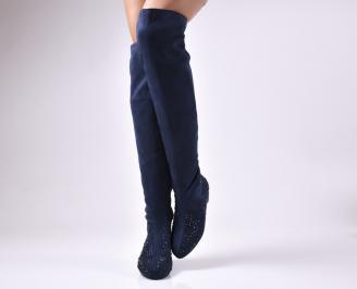 Дамски ботуши  тъмно сини от еко велур RHXL-24859