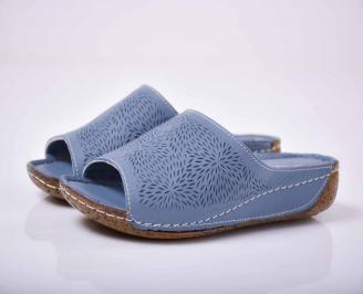 Дамски чехли гигант естествена кожа сини  PPIB-1015829