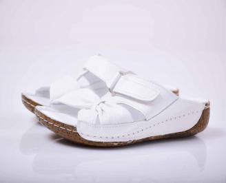 Дамски чехли гигант естествена кожа бели  CDSY-1015830