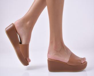 Дамски чехли на платформа  кафяви WRSP-1013955
