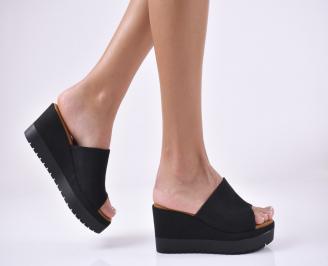 Дамски чехли на платформа  черни VNET-1013960