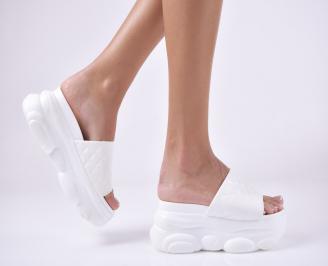 Дамски чехли на платформа  бели RTNM-1013969